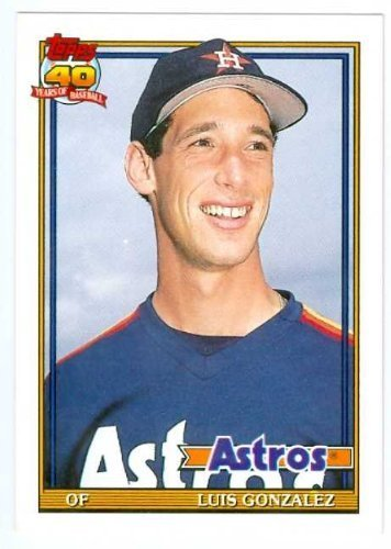 Luis Gonzalez baseball card 1991 Topps #48T (Houston Astros - Rookie Card)