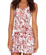 Blood Splatter Slim Stretchy Pleated Skirt Reversible White Dress - $18.99
