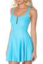 Shiny Solid Blue with Middle Zip Slim Stretchy Pleated Skirt Reversible Dress - $18.99