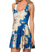 Westeros Map Slim Stretchy Pleated Skirt Reversible Blue Dress - $18.99