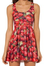 Red Strawberry 3D Digital Printed Slim Stretchy Pleated Skirt Reversible Dress - $18.99