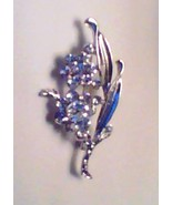 SILVER FLOWER SPRAY PIN/BROOCH WITH CRYSTALS - $10.00