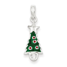 925 Sterling Silver Enameled Christmas Tree w/S... - $13.70