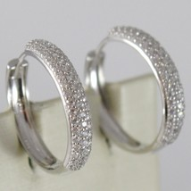 White Gold Earrings 750 18K Circle, Diameter 2 cm, Triple Row Zircon, 3 MM image 1