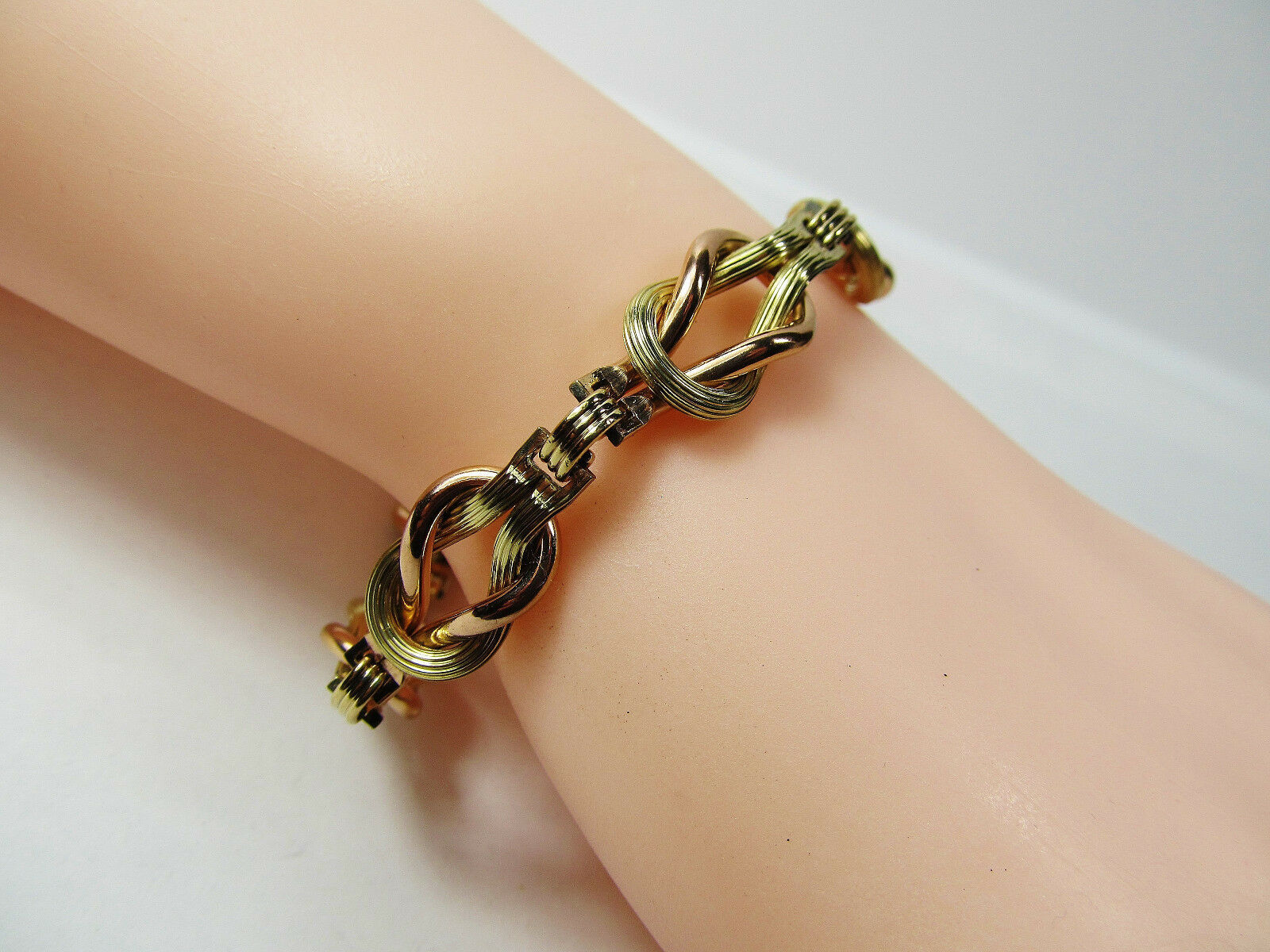"""Vintage Pink Yellow Gold Wash Sterling Silver Love Knot Book Chain 7.5"""" Bracelet"""