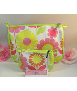 New Clinique 2 Piece Makeup Purse Cosmetic Bag Pink Yellow Lime Green Fl... - $14.99