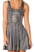 Woo Woo Black and White Slim Stretchy Pleated Skirt Reversible Dress - $18.99