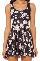 Cherry Blossom Black Dress Slim Stretchy Pleated Skirt Reversible Sundress - €16,95 EUR