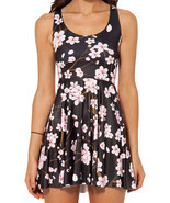 Cherry Blossom Black Dress Slim Stretchy Pleated Skirt Reversible Sundress - £14.99 GBP