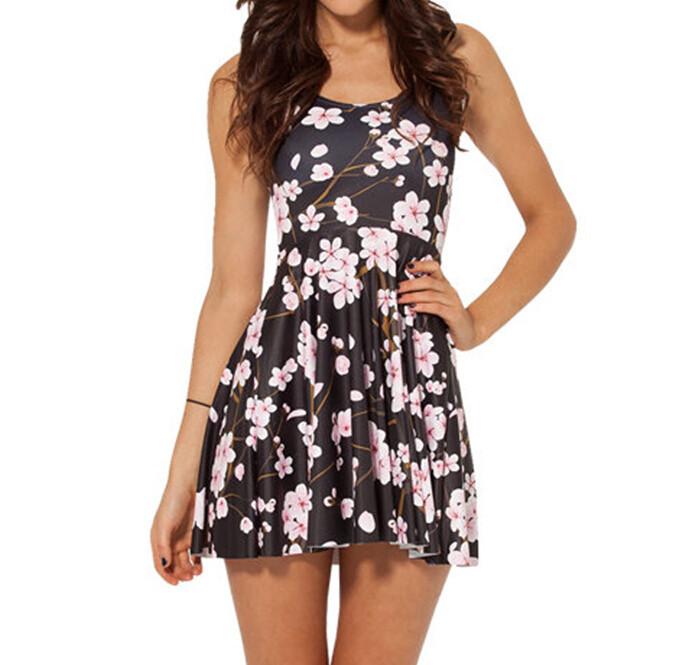 Cherry Blossom Black Dress Slim Stretchy Pleated Skirt Reversible Sundress