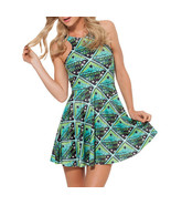 Road Weasly Weather Bottle Slim Stretchy Pleated Skirt Reversible Green ... - $18.99