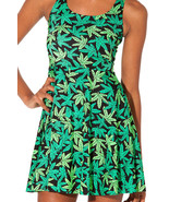 Marijuana Weed Woah Dude Green Digital Printed Dress Summer Sundress - $18.99