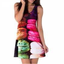 Multi Colors Macarons 3D DesignSlim Stretchy Pleated Skirt Reversible Dress - $18.99