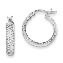 925 Sterling Silver Rhodium Plated 4mm x 20mm Grooved Hinged Hoop Earrings - $21.73
