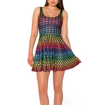 Colorful Robot Design Slim Stretchy Pleated Skirt Reversible Black Dress - $18.99