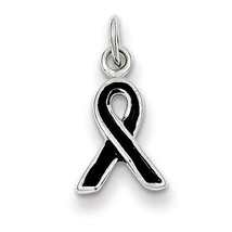 Black Enameled Awareness Polished Charm Pendant... - $10.17