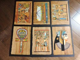 "Collection Set of 6 Signed Egyptian Papyrus Museum Art Paintings..14""X10... - $34.65"