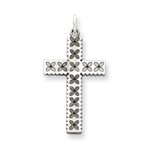 Laser Etched Cross Polished Charm Pendant 25mmx13mm 925 Sterling Silver - $23.87