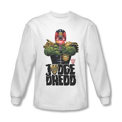 Judge Dredd Long Sleeve T shirt cool superhero comic 100% white cotton tee JD102
