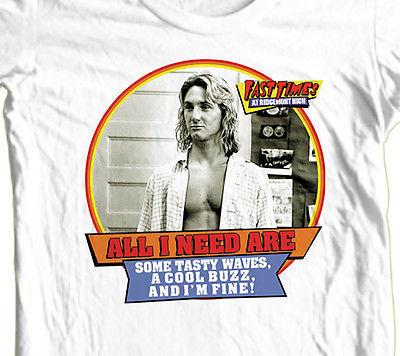 Fast Times Ridgemont High T shirt Jeff Spicoli retro 80's surfer 100% cotton tee
