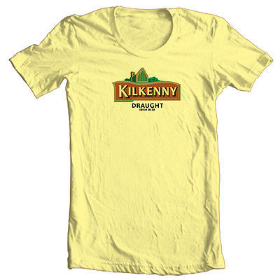 Kilkenny Irish Beer T shirt bar Ireland soccer 100% cotton graphic yellow tee