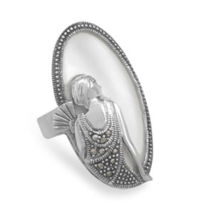 Vintage Design Shell Ring With Marcasite Woman  - $99.99