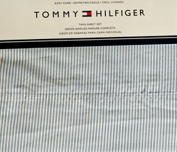 Tommy Hilfiger Ithaca Riviera Blue White Oxford Stripe Sheet Set Twin  - $59.00