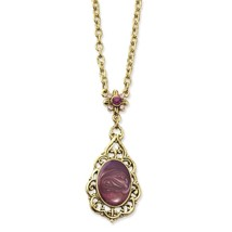 "Purple Crystal & Enamel 16"" w/ext Brass Tone Necklace 1928 Boutique - $26.18"