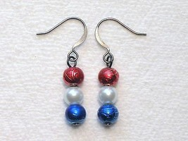 Patriotic White Pearl Red Blue Spectra Glass Ro... - $1.75