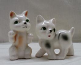 Two Vintage Kitsch Kitten Figurines // Miniature Cat Figures // Ceramic Cats - $14.00