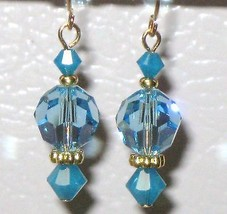 Aquamarine Carribean Blue Opal Austrian Faceted... - $3.00