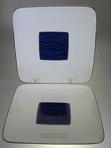 Noritake Stardust Platinum Square Plates Set of 2 NEW WITH TAGS - $21.46