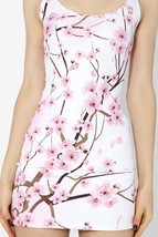 Cherry Blossoms White Bodycon Slim Stretchy One Piece Sexy Sheath Dress - $18.99