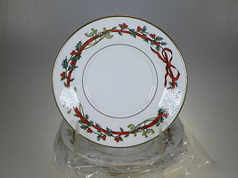 Royal Worcester Holly Ribbons Saucers Set of 4 MADE IN ENGLAND - $40.16