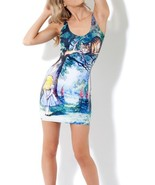 Cheshire Cat Alice in Wonderland Stretch Bodycon Slim One Piece Sheath Dress - $18.99