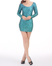 Green Rhaegal Dragon Scale Mini Skirt One-Piece Bodycon Slim Stretch Dress - $18.99