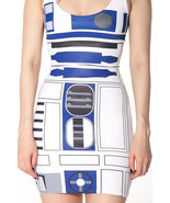 Star Wars Artoo R2D2 DesignOne-Piece Mini Skirt Bodycon Slim Stretch Mov... - $18.99