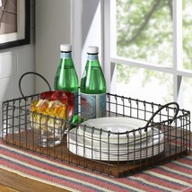 Wire Serving Tray with Handles Wooden Base Food Breakfast Tea Coffee Din... - $28.02