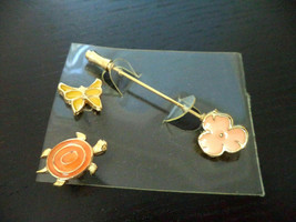 Vintage Enamel Butterfly Turtle Flower Stick Pin Gold tone Brooch set lot - £7.63 GBP