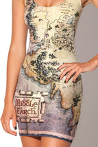 The Hobbit Map Movie One-Piece Mini Skirt Bodycon Slim Stretch Vintage Dress - $18.99