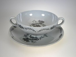 Wedgwood Partridge In a Pear Tree Cream Soup Bowl & Liner - $22.72