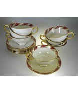 Lenox Bellevue Maroon Footed Cups & Saucers Set of 8 PERFECT CONDITION - $58.86