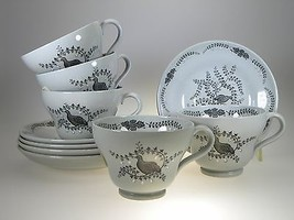 Wedgwood Partridge In a Pear Tree Cups & Saucers Set of 5 - $62.32