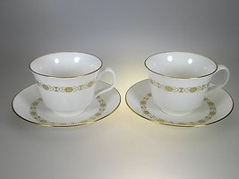 Minton Golden Diadem Cups & Saucers set of 2 PERFECT CONDITION Made in England - $27.73