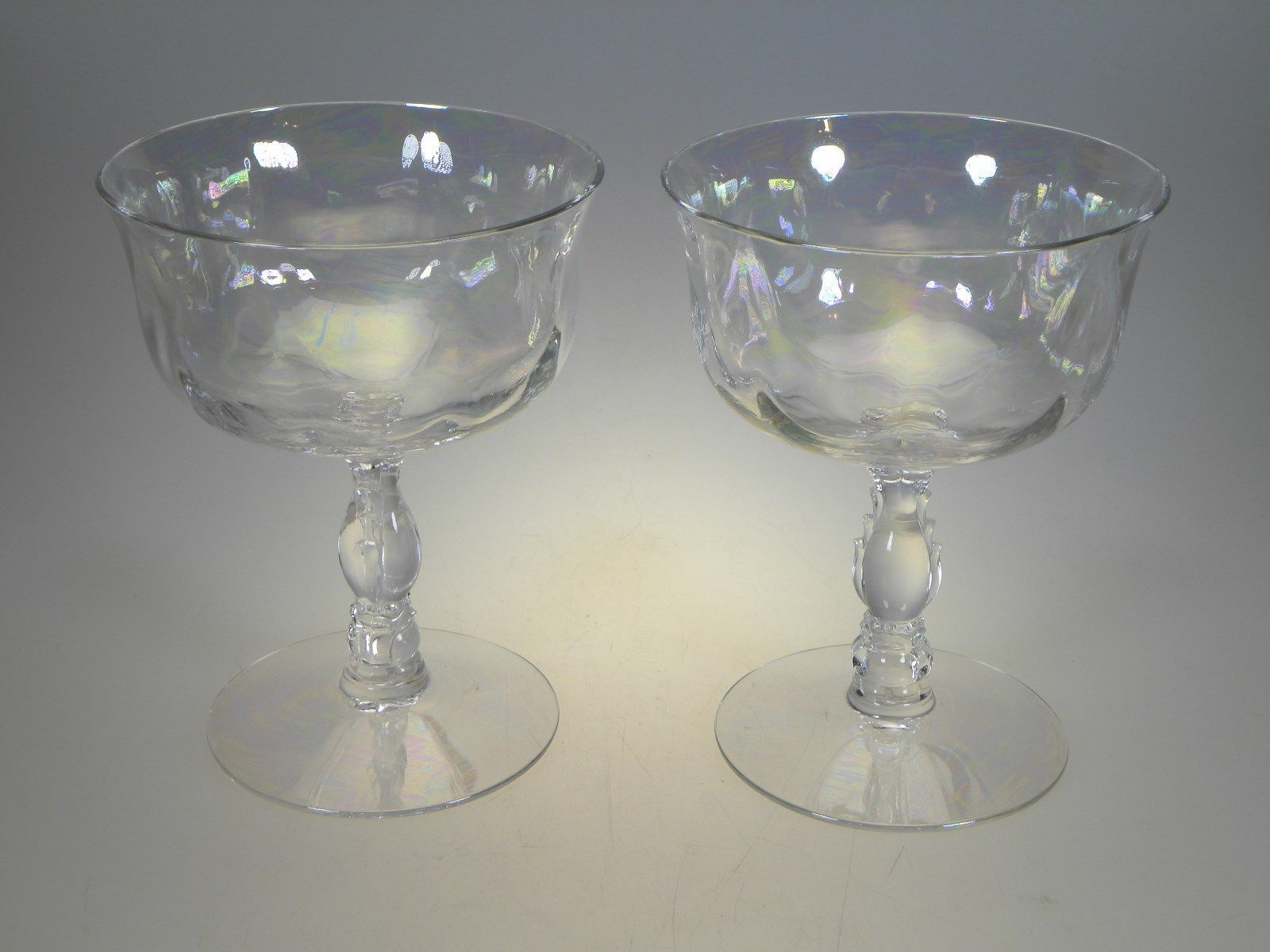 Primary image for Fostoria Crystal Coral Pearl Iridescent Low Sherbets Set of 2