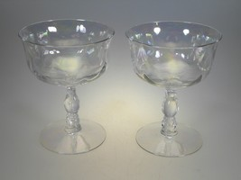 Fostoria Crystal Coral Pearl Iridescent Low Sherbets Set of 2 - $15.95