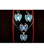 925 Silver Earrings Pendant Ring Set Hawaiian Opal Butterfly - $79.00