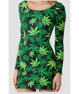 Marijuana Woah Dude 2.0 One-Piece Mini Skirt Bodycon Slim Stretch Green ... - $18.99+