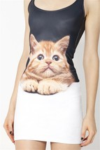 Surprised Pussy Cat One-Piece Mini Skirt Bodycon Slim Stretch Dress - $18.99