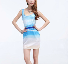 Blue Calm Sea Art One-Piece Mini Skirt Bodycon Stretchy OOAK Dress - $18.99